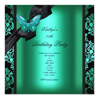 Birthday Party Jade Green Black Damask Butterfly Invitation