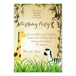 Birthday Party Jungle Giraffe zebra Monkey Card