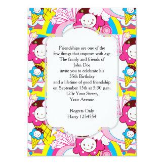 Birthday Party Kawaii Ice Cream Uber Cute Card