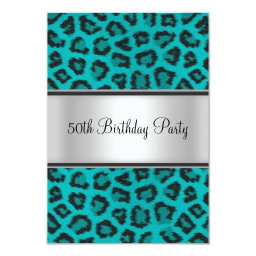 "Birthday Party Leopard Fur Teal 3.5"" X 5"" Invitation Card"