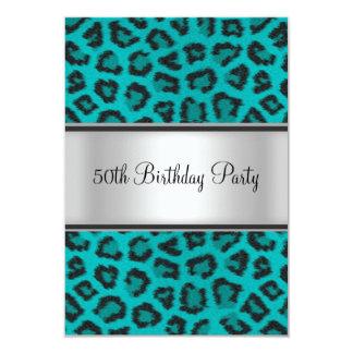 Birthday Party Leopard Fur Teal Custom Announcements