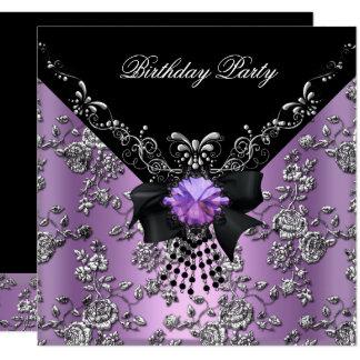 Birthday Party Lilac Purple Black Silver Damask Card
