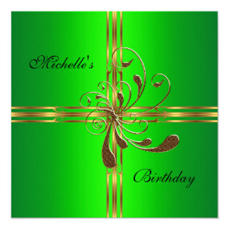 Birthday Party Lime Green Gold Gift Bow Card