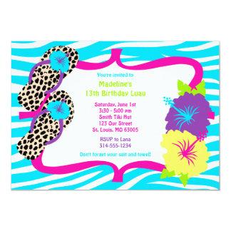 "Birthday Party Luau Invitation 5"" X 7"" Invitation Card"