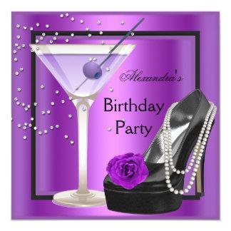 Birthday Party Magenta Purple Black Shoes 5.25x5.25 Square Paper Invitation Card