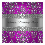 Birthday Party Magenta Silver Damask 5.25x5.25 Square Paper Invitation Card