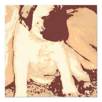 """Birthday Party Mastiff Pup Invite 5.25"""" Square Invitation Card"""