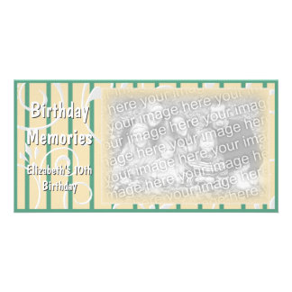 Birthday Party Memories Photo Card Yellow Green