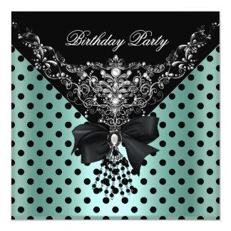 Birthday Party Mint Green Black Spot Polka dots Card
