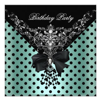 Birthday Party Mint Green Black Spot Polka dots Invites