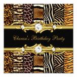 Birthday Party Mixed Animal Prints Gold Black Card