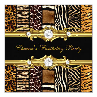 Birthday Party Mixed Animal Prints Gold Black Card