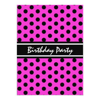 Birthday Party Modern Pink and Black Polka Dot Card