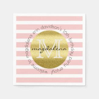 Birthday Party Monogram Gold Glitter Blush Pink St Napkin