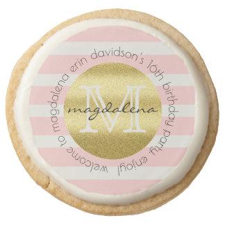 Birthday Party Monogram Gold Glitter Pink Stripes Round Shortbread Cookie