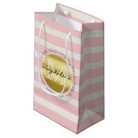 Birthday Party Monogram Gold Glitter Pink Stripes Small Gift Bag