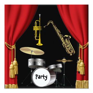 Birthday Party Music Dance Curtains Invitation