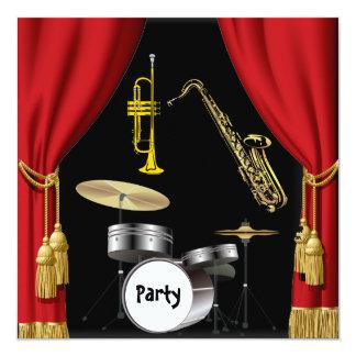 Birthday Party Music Dance Curtains Invitation