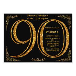 Birthday party, Ninety, great Gatsby, black & gold Card