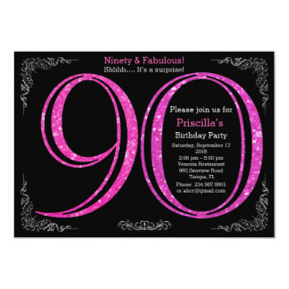 Birthday party, Ninety, great Gatsby, black silver Card