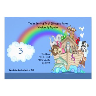 Birthday Party Noahs Ark Personalized Announcement