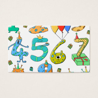 Birthday Party Numbers Business Card