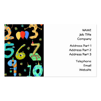 Birthday Party Numbers, on Black. Double-Sided Standard Business Cards (Pack Of 100)