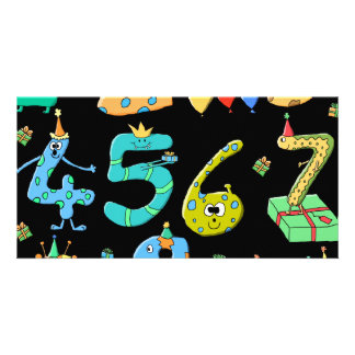 Birthday Party Numbers, on Black. Photo Card Template