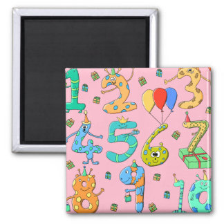 Birthday Party Numbers, on Pink. 2 Inch Square Magnet
