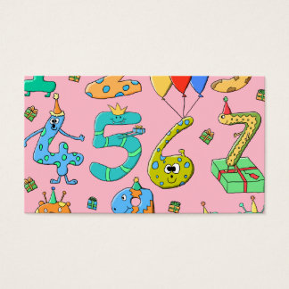 Birthday Party Numbers, on Pink. Business Card