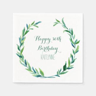 Birthday Party Olive Leaf Laurel Wreath Modern Napkin