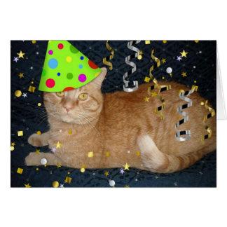 Birthday Party Orange Tabby Cat Greeting Card