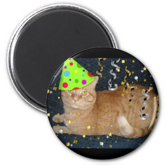 Birthday Party Orange Tabby Cat Magnet