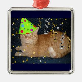 Birthday Party Orange Tabby Cat Metal Ornament