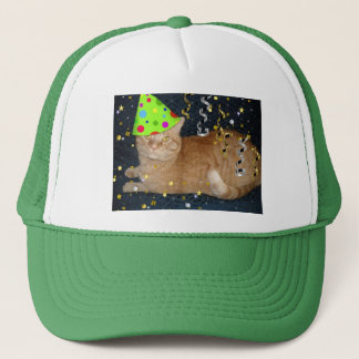 Birthday Party Orange Tabby Cat Trucker Hat