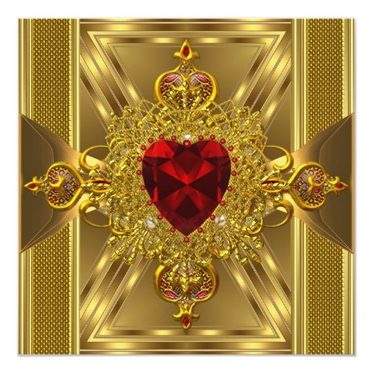 Birthday Party Ornate Red Jewelled Heart Gold Book Card
