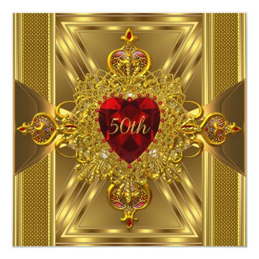 "Birthday Party Ornate Red Jewelled Heart Gold Book 5.25"" Square Invitation Card"