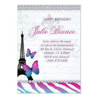 Birthday Party Paris Card Eiffel Tower Butterflies