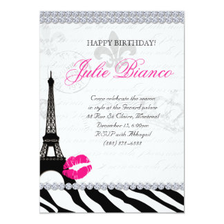 Birthday Party Paris Card Eiffel Tower Zebra