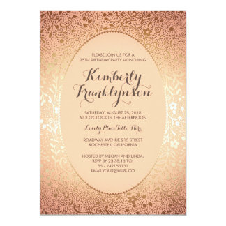 Birthday Party - Peach and Gold Floral Vintage Card
