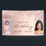 """Birthday party photo rose gold glitter friends banner<br><div class=""""desc"""">A banner for a girly and glamorous birthday party for two girls, women. A faux rose gold metallic looking background with an elegant faux rose gold, pink glitter drips, paint dripping look. Add your own 2 two photos of the birthday girls. Text: Happy Birthday. The word Birthday and the names...</div>"""