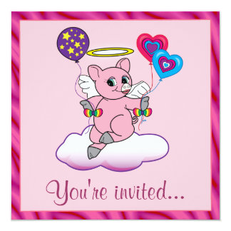 Birthday Party Pig Angel with Balloons Card
