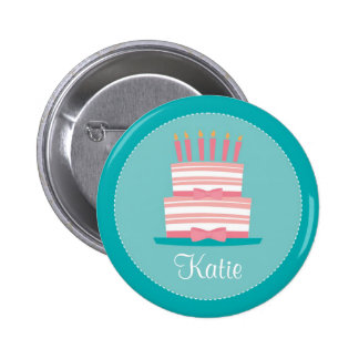 Birthday Party Pin : Pink & Teal Cake 01