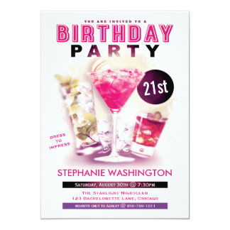 "Birthday Party Pink Martini and Cocktails 5"" X 7"" Invitation Card"