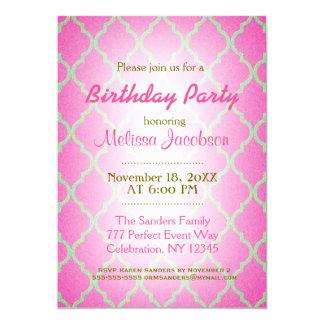 Birthday Party   Pink Quatrefoil Card