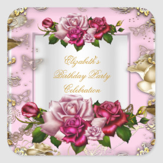 Birthday Party Pink Roses White Gold Cream Square Sticker