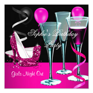 Birthday Party Pink Shoe Heels Wine Stiletto Card