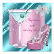 Birthday Party Pink Teal Blue Martini High Heel Personalized Invitation