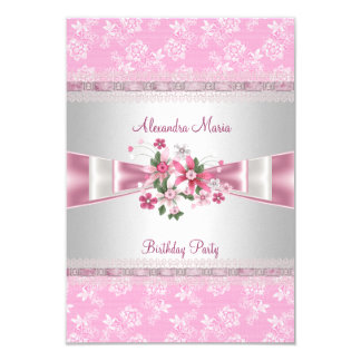 Birthday Party Pink White Floral Damask Bows 3.5x5 Paper Invitation Card