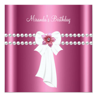 Birthday Party Pink White Pink Flowers Pearl Bow Card
